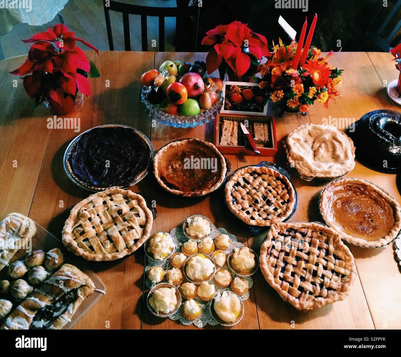 Thanksgiving Dessert Table Stock Photo Alamy