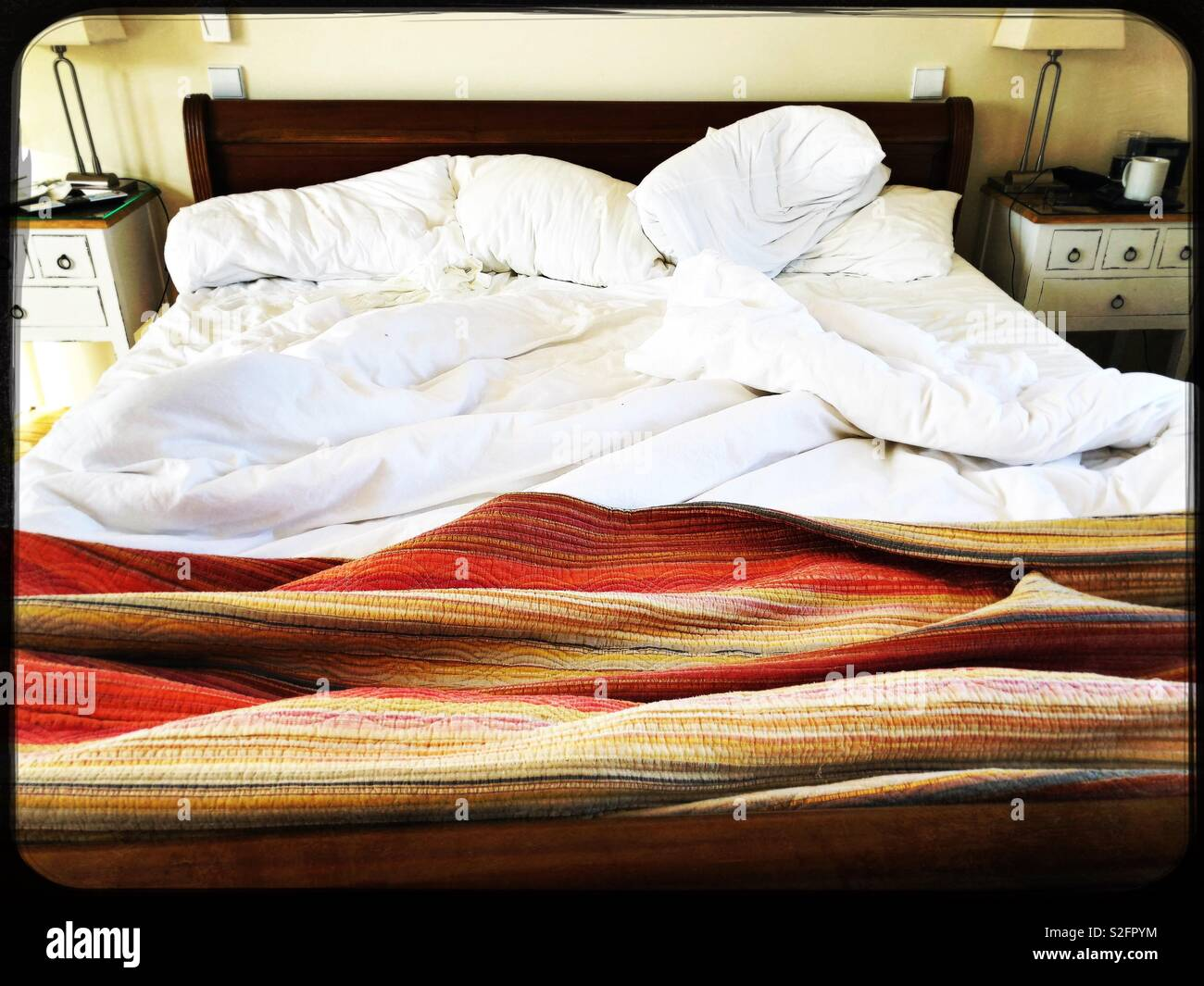Messy bed in the morning - Stock Image