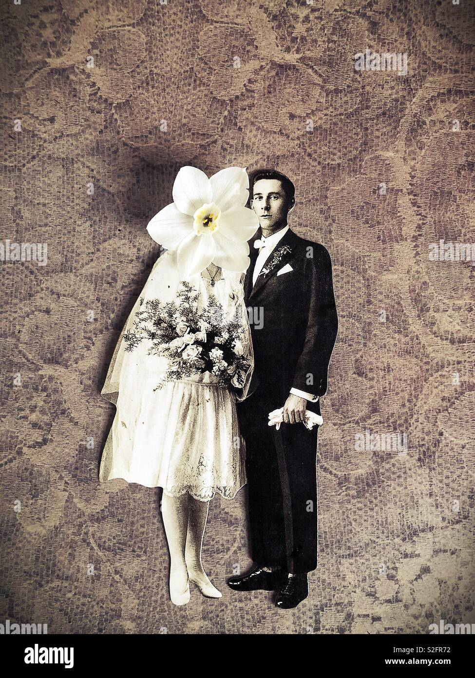A surreal collage of bride and groom. Stock Photo