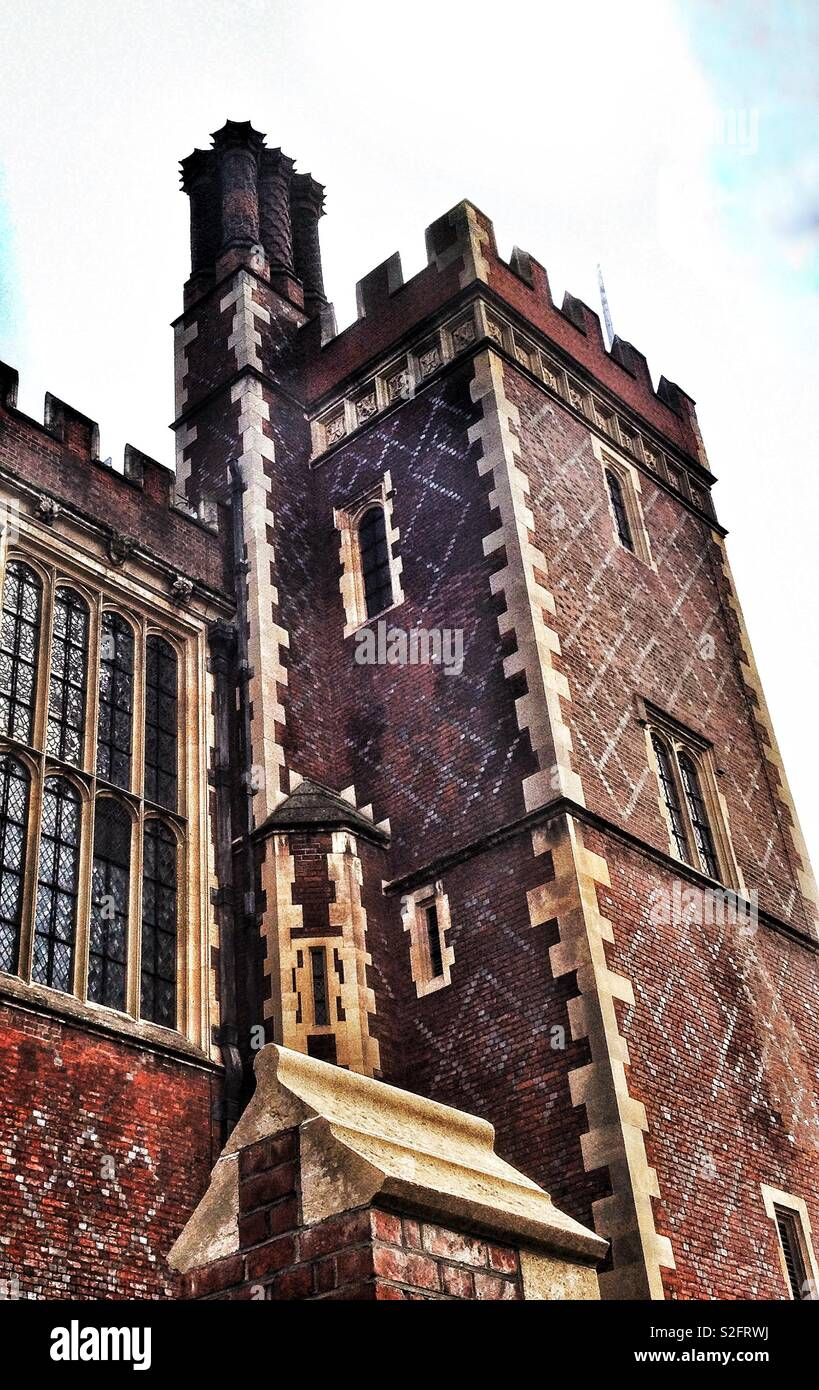 Detail of the ornate Victorian Tudor Gothic architecture of the Great Hall in Lincoln's Inn, London, built in 1847 - Stock Image