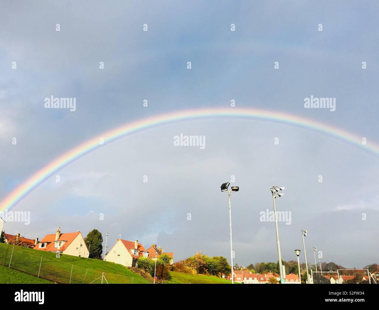Double rainbow, Aberdeen, Scotland - Stock Image