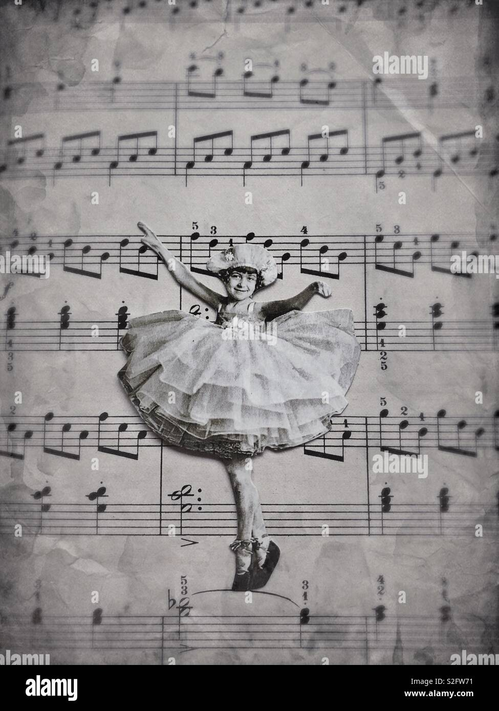 Vintage style surreal collage of a little girl dancing on sheet music. - Stock Image