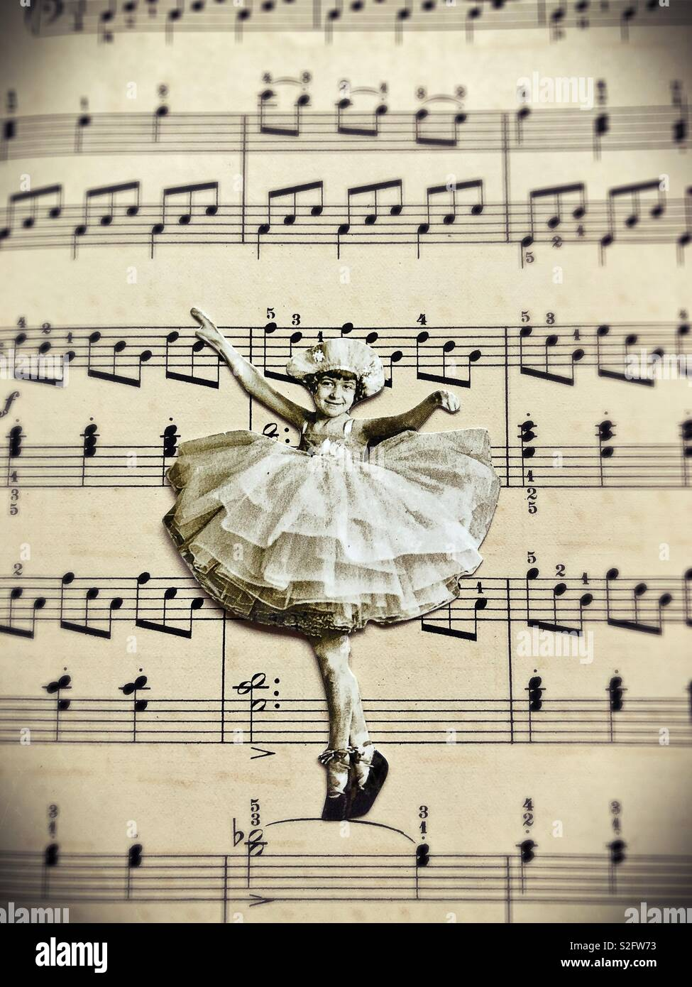 Vintage style collage of young ballerina. - Stock Image