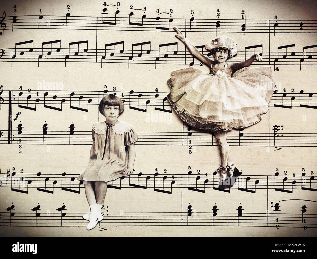 Vintage style collage of two girls with opposite personalities. - Stock Image