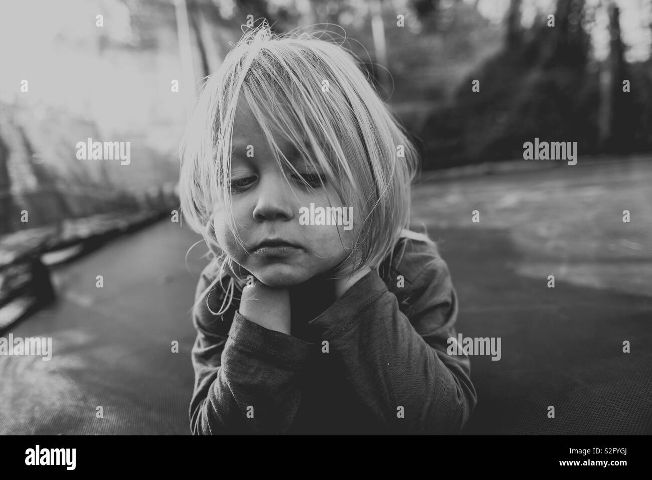 Fed up and bored child - Stock Image