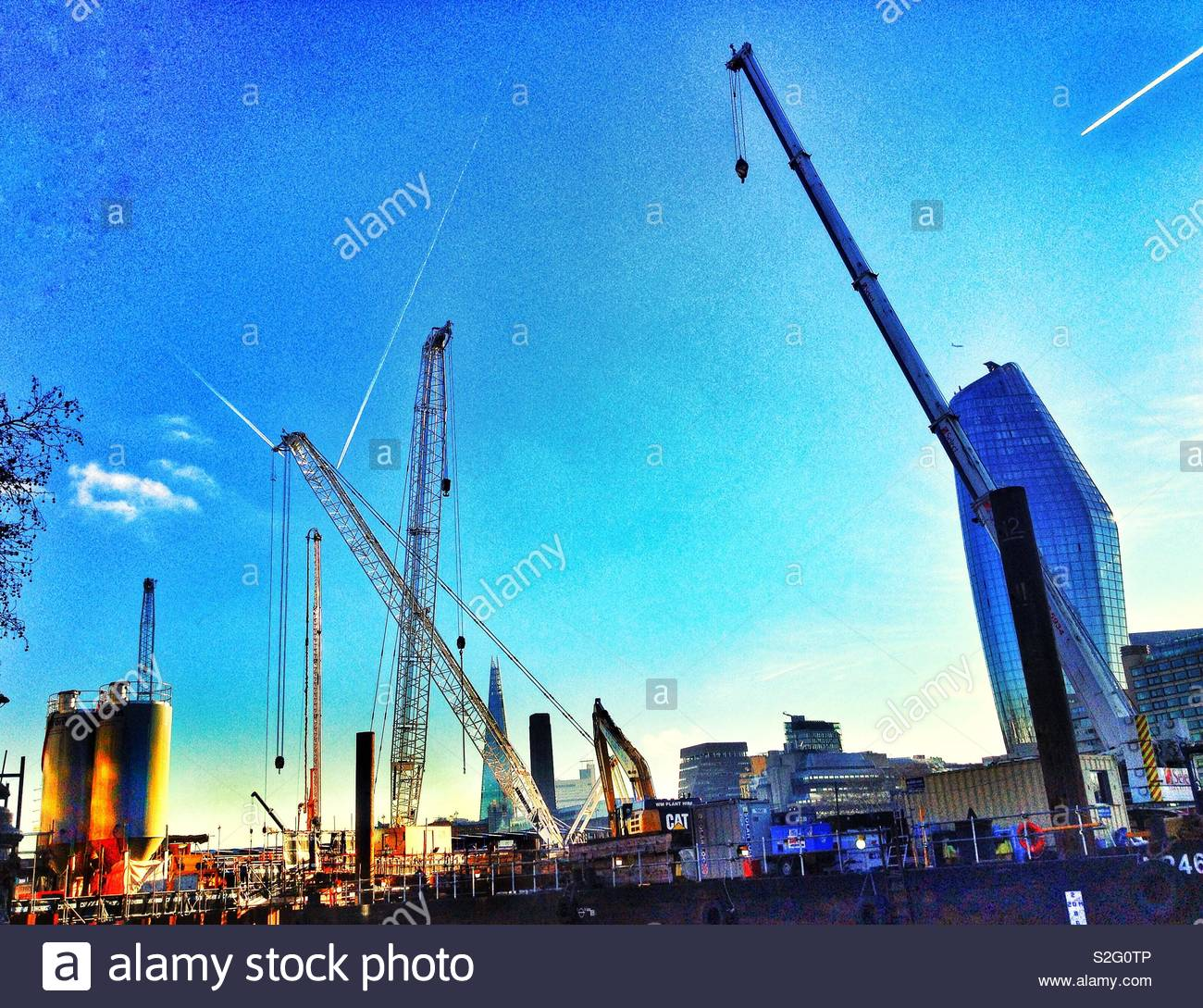 Construction work on the river Thames near Blackfriars bridge in London building a new super sewer - Stock Image