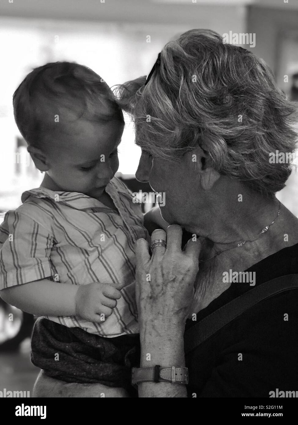 Great grandma with great grandson - Stock Image