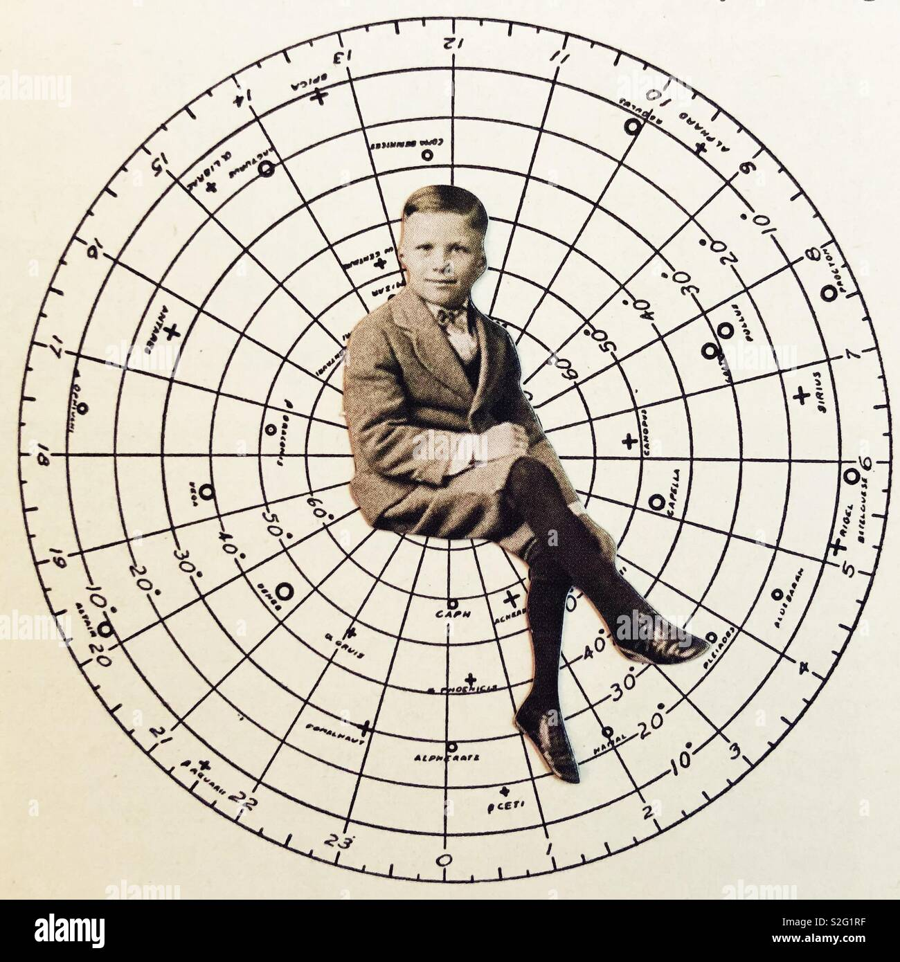 Collage of vintage round chart and boy. - Stock Image