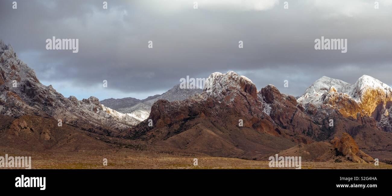 Snow on the Organ Mountains, New Mexico - Stock Image