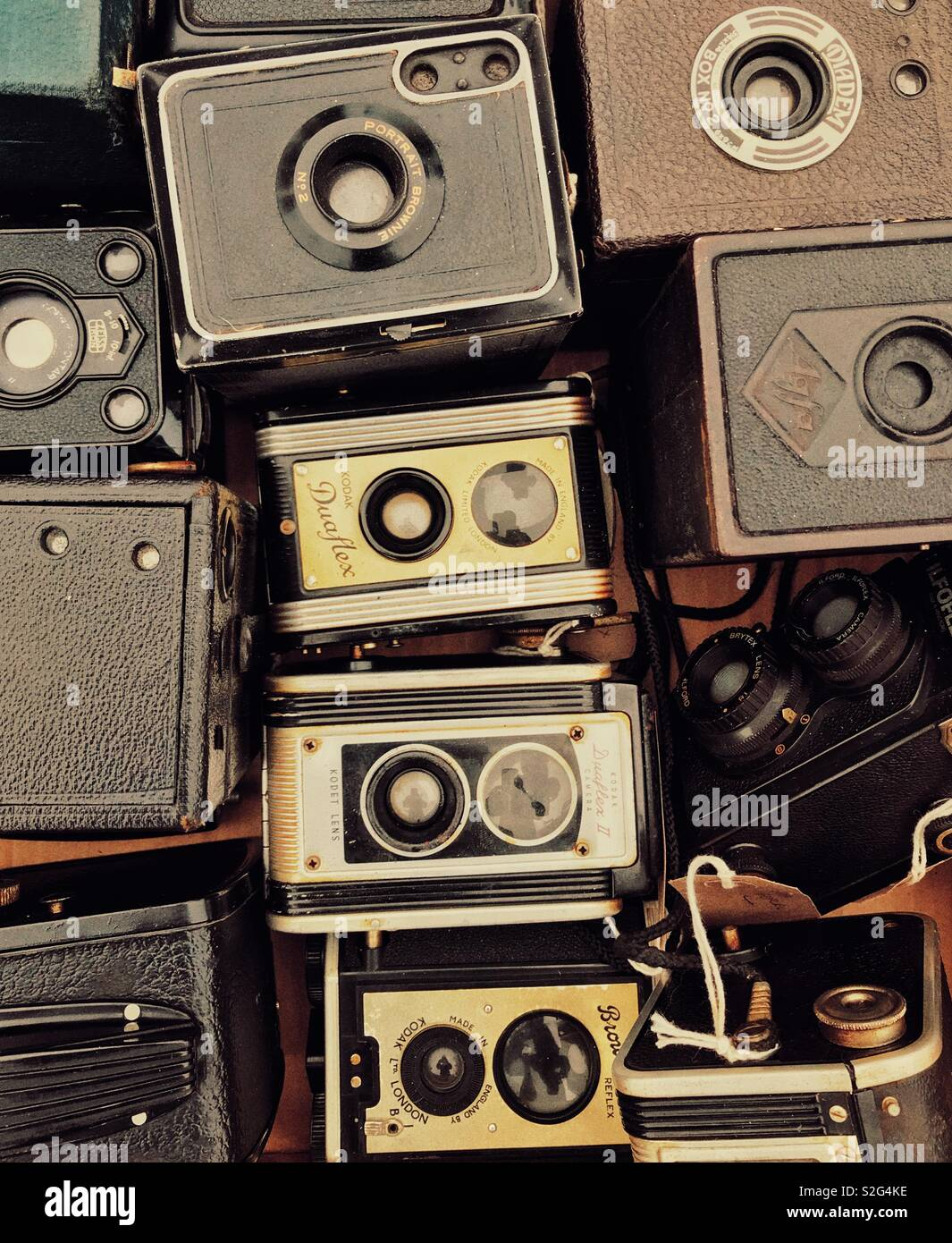 A collection of old film cameras - Stock Image