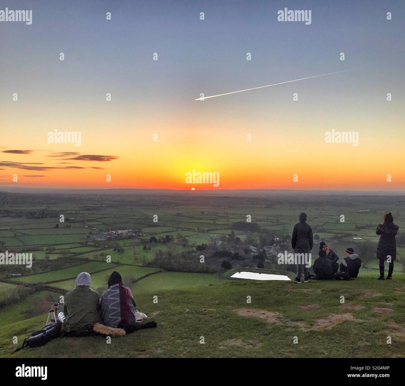 Daybreak on New Years Day 2019 at Glastonbury Tor, Somerset - Stock Image