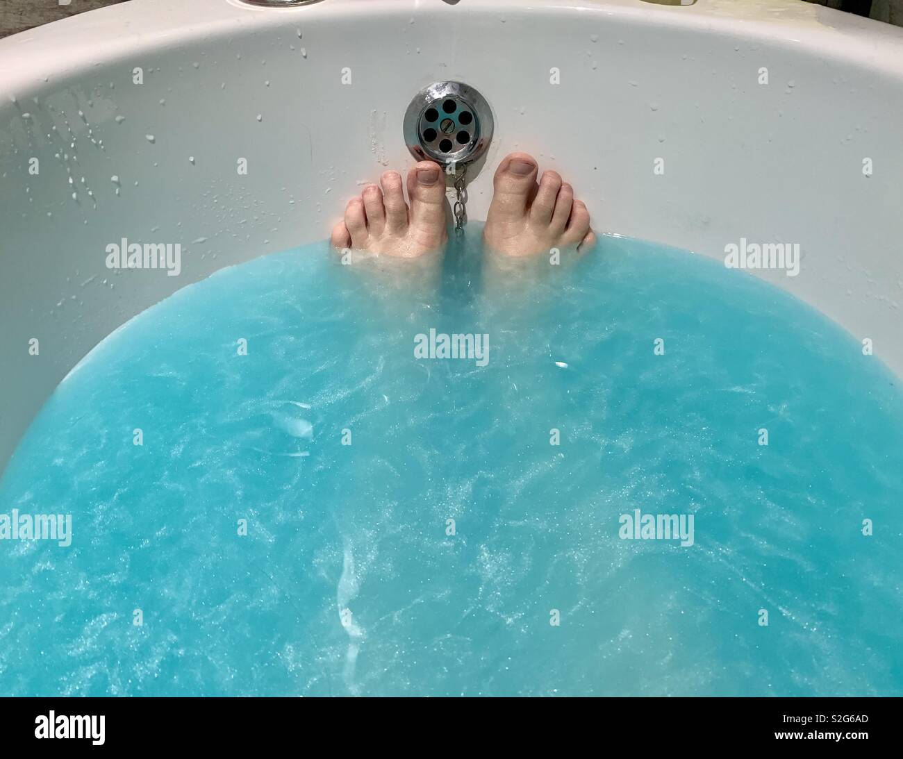 Blue bath - Stock Image