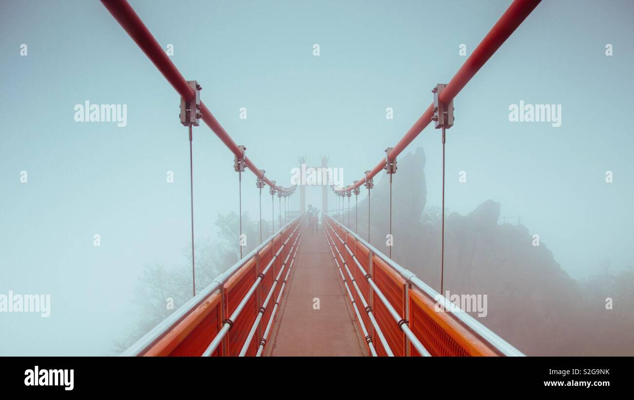 Adventure cloud bridge at Wolchulsan National Park, Yeongam, South Korea - Stock Image