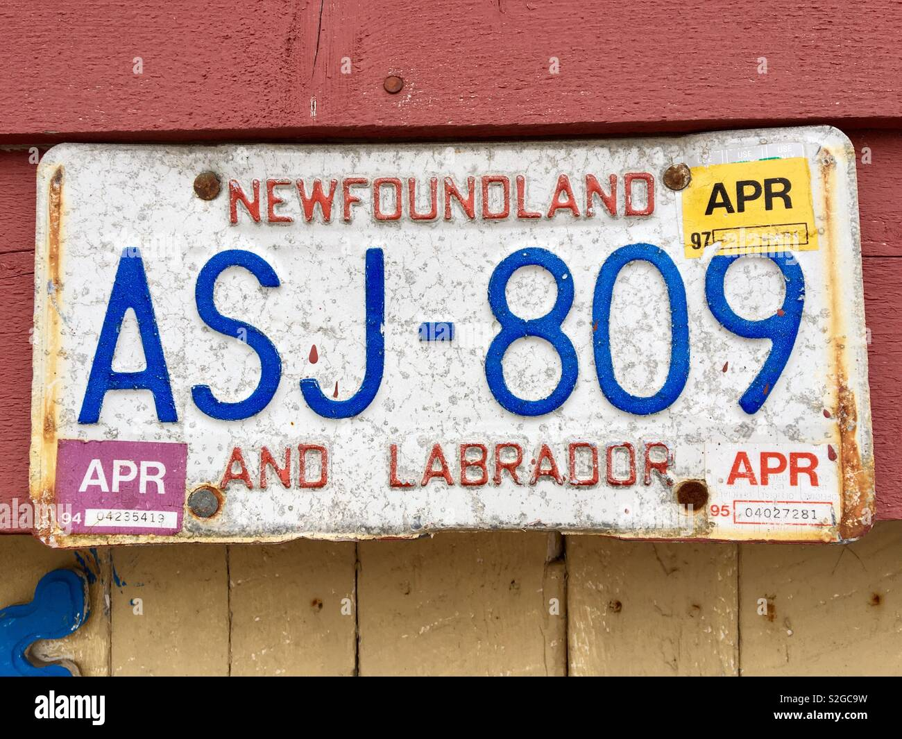 Old Newfoundland and Labrador car number plate - Stock Image