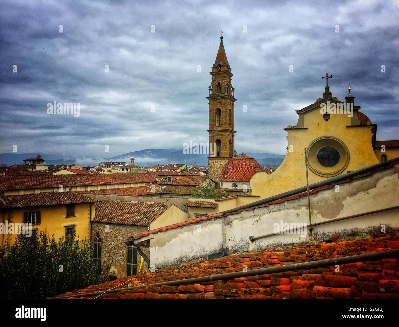 Rooftops of Florence, Italy near the Basilica di Santo Spirito - Stock Image