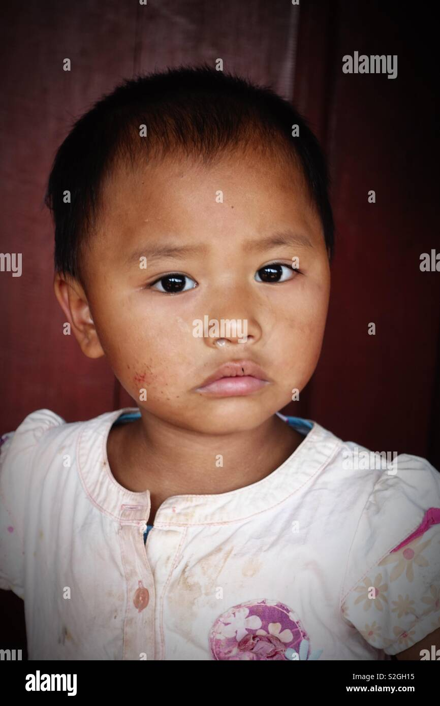 People of the Lahu hilltribe in thailand: Portrait of a young girl - Stock Image