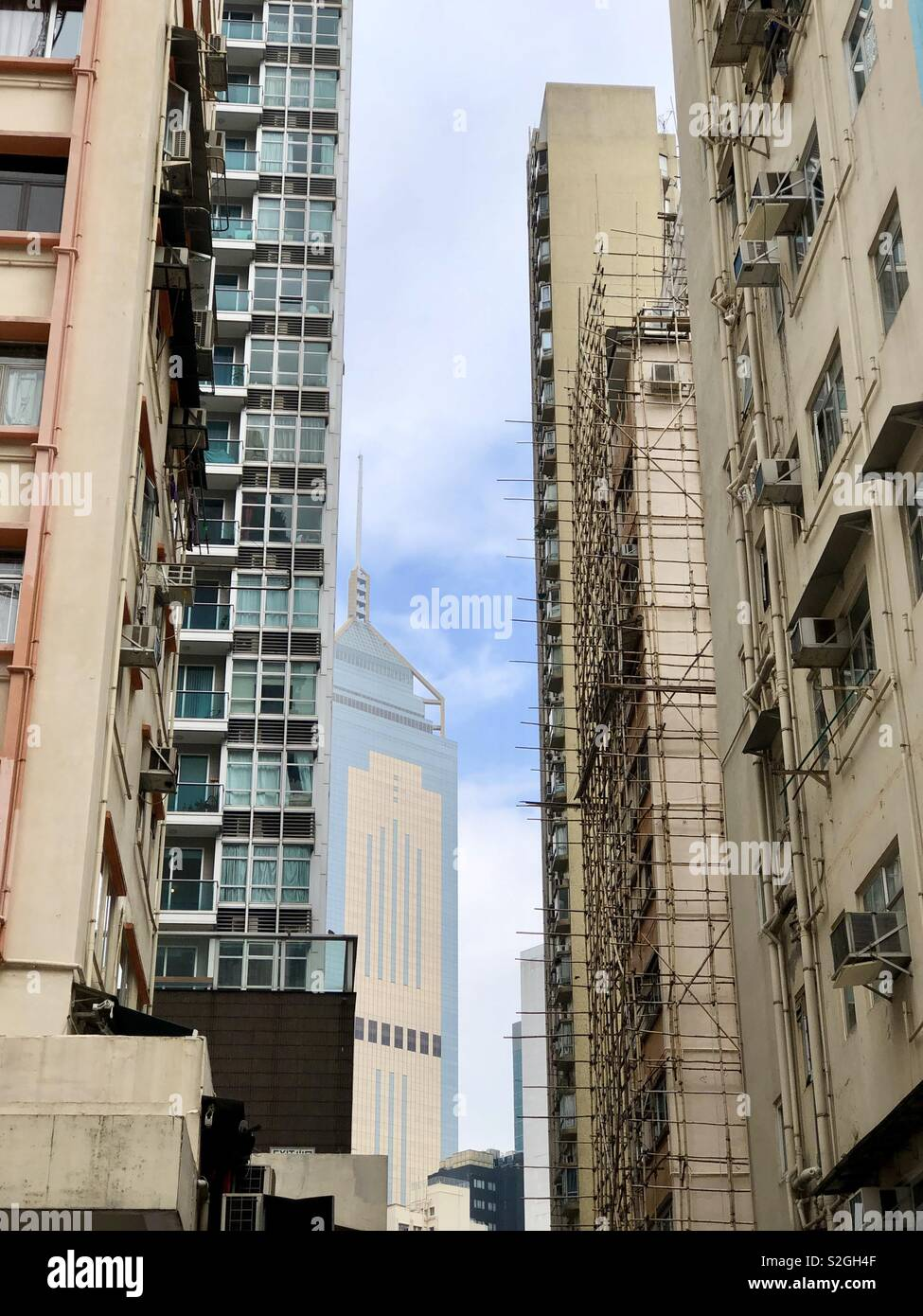 Wan Chai Street looking up Hong Kong - Stock Image