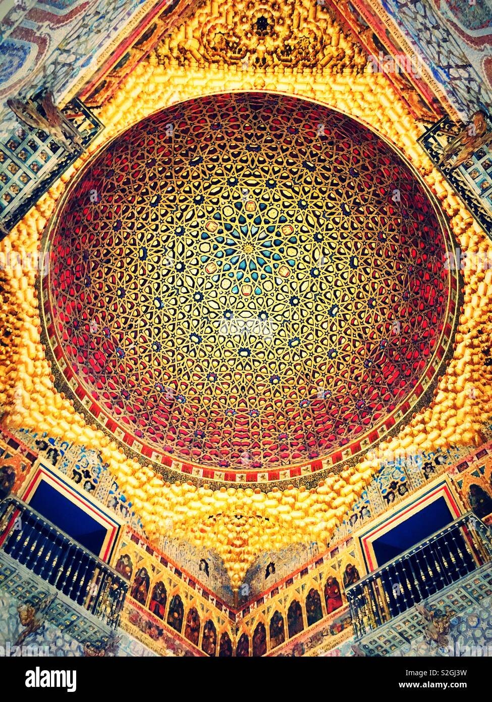 Royal alcazar of Sevilla - ceiling - Stock Image