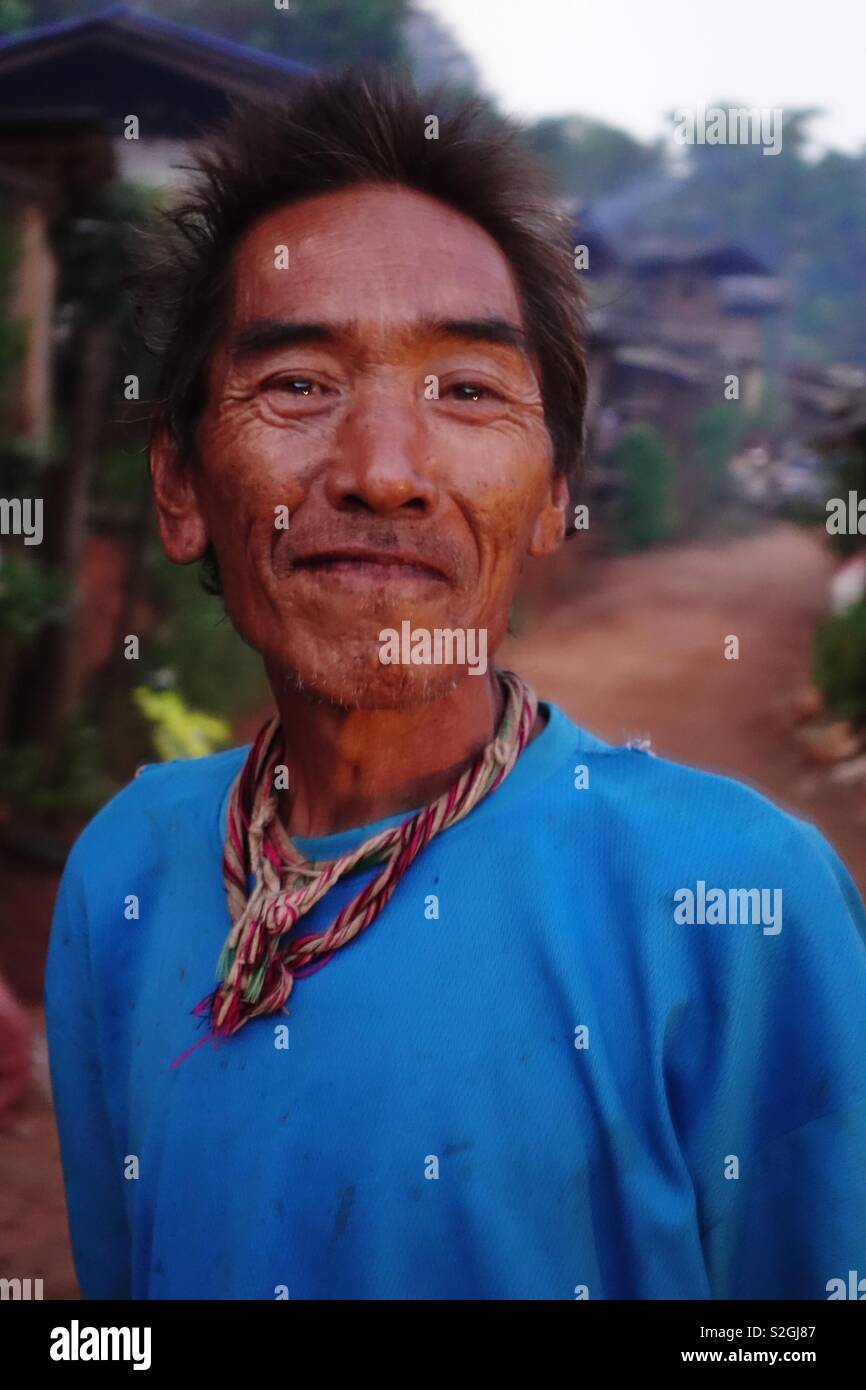 Lahu hilltribe: proud man of middle age - Stock Image