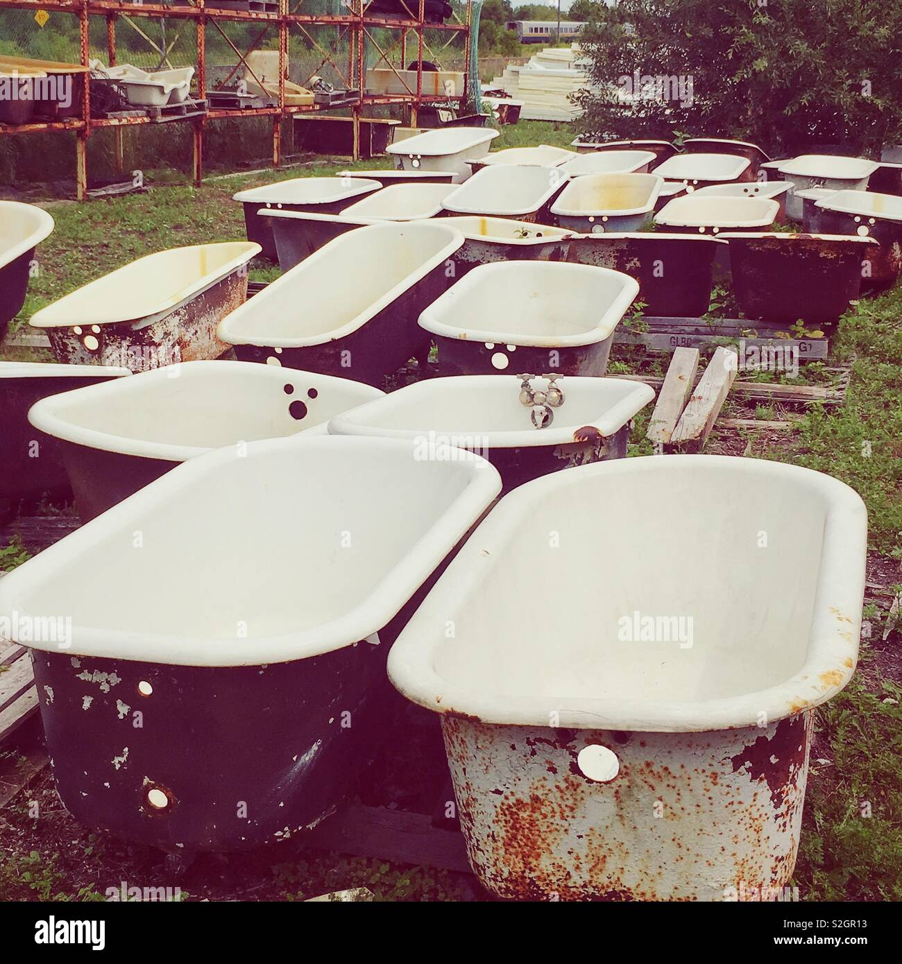 Bath tub resting grounds, grouping of vintage bathtubs stored outdoors in a field. - Stock Image