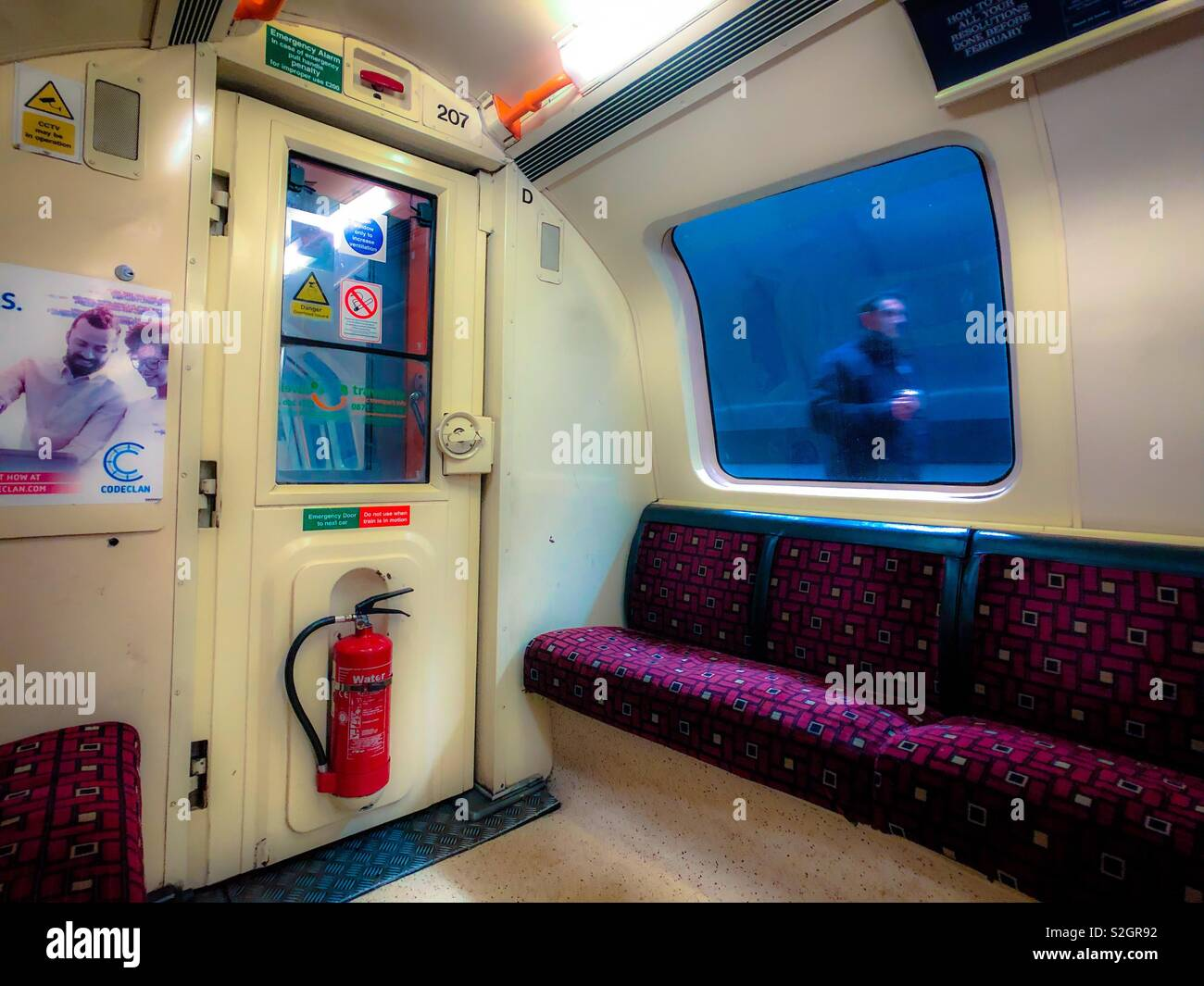 Interior and view from Glasgow subway carriage. Scotland. UK. - Stock Image