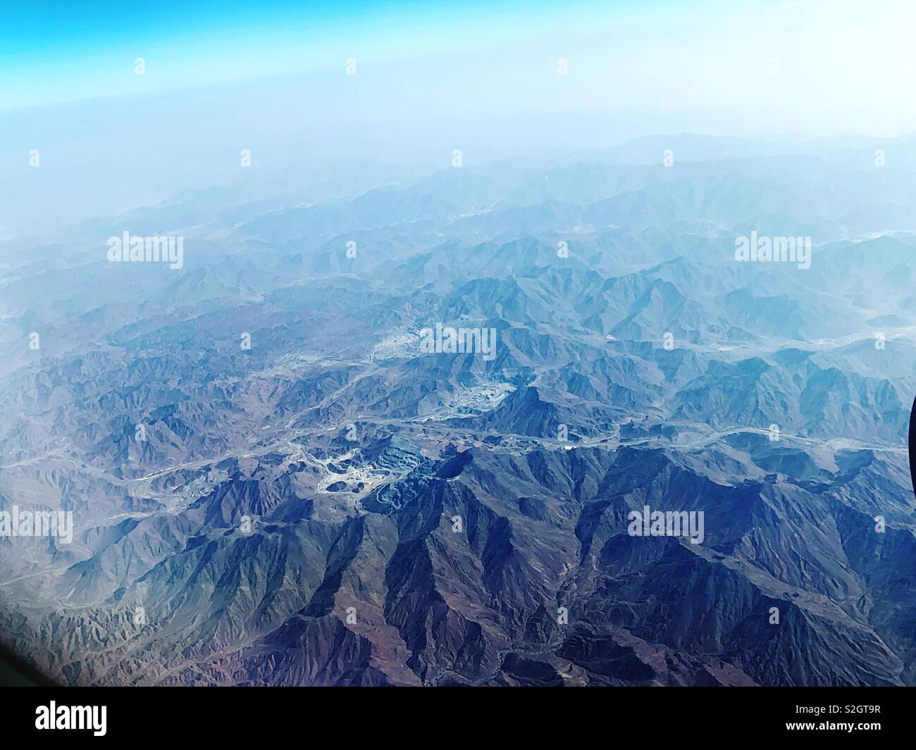 Ariel view of the mountains - Stock Image