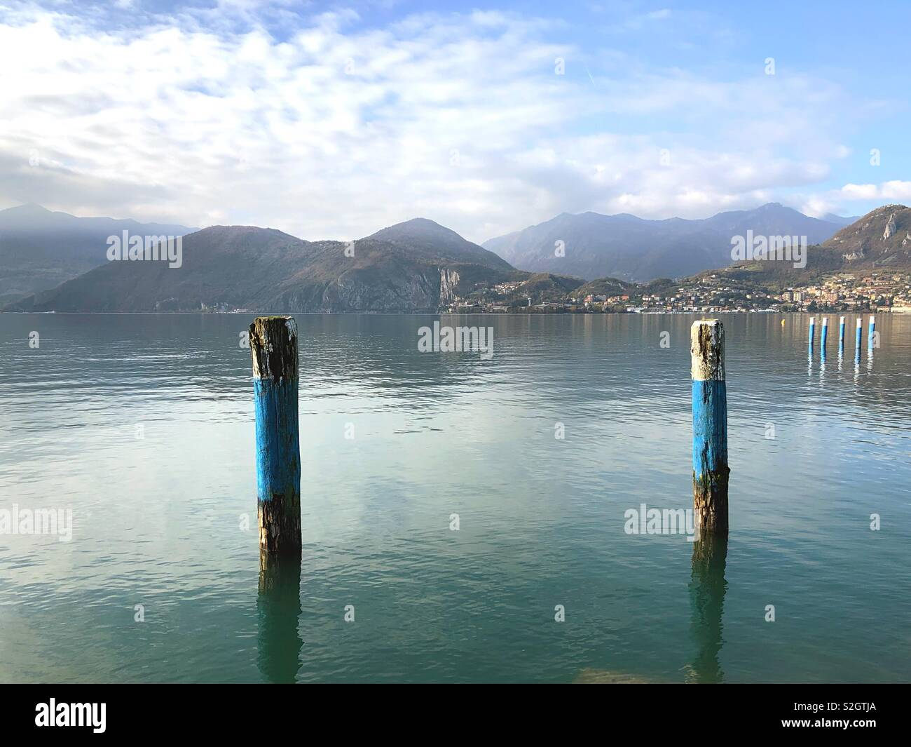 A view of Iseo Lake from Pisogne (Italy) - Stock Image
