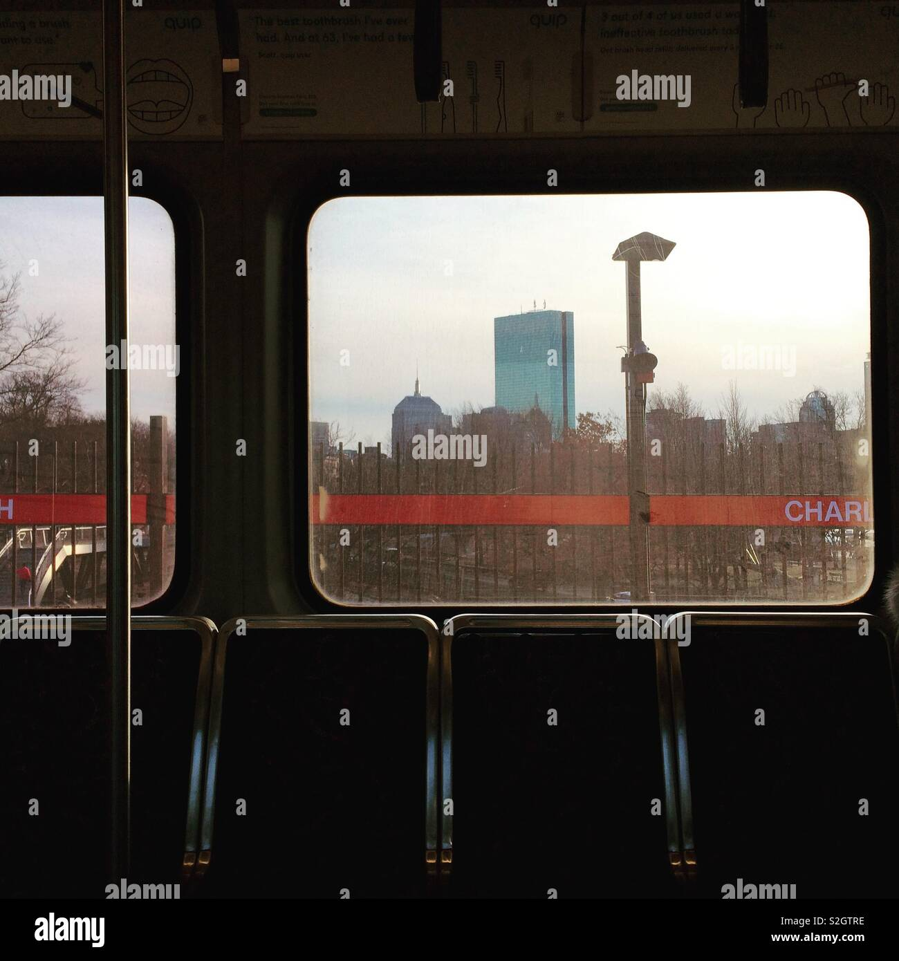 Skyscrapers seem through subway car windows, Boston, Massachusetts, United States - Stock Image