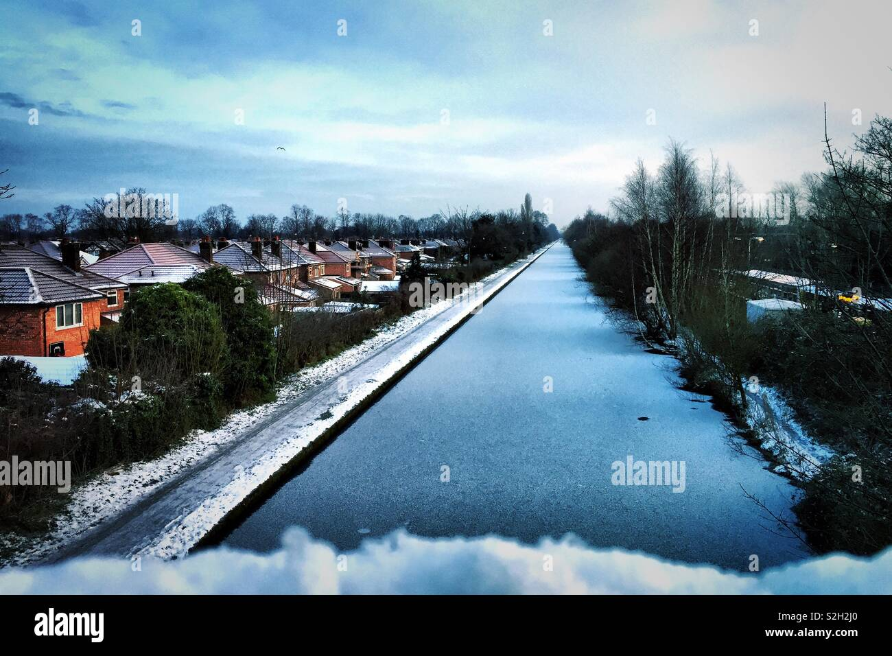 Frozen canal in Timperley Greater Manchester, Cheshire 1 February 2019 - Stock Image
