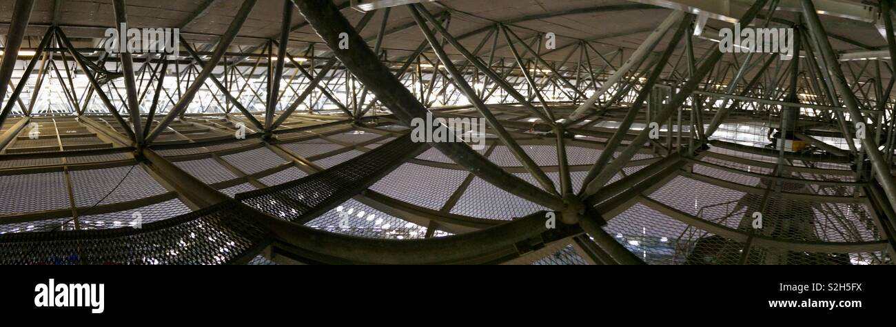 The roof trusses inside the Stockholm globen (globe) arena venue - Stock Image