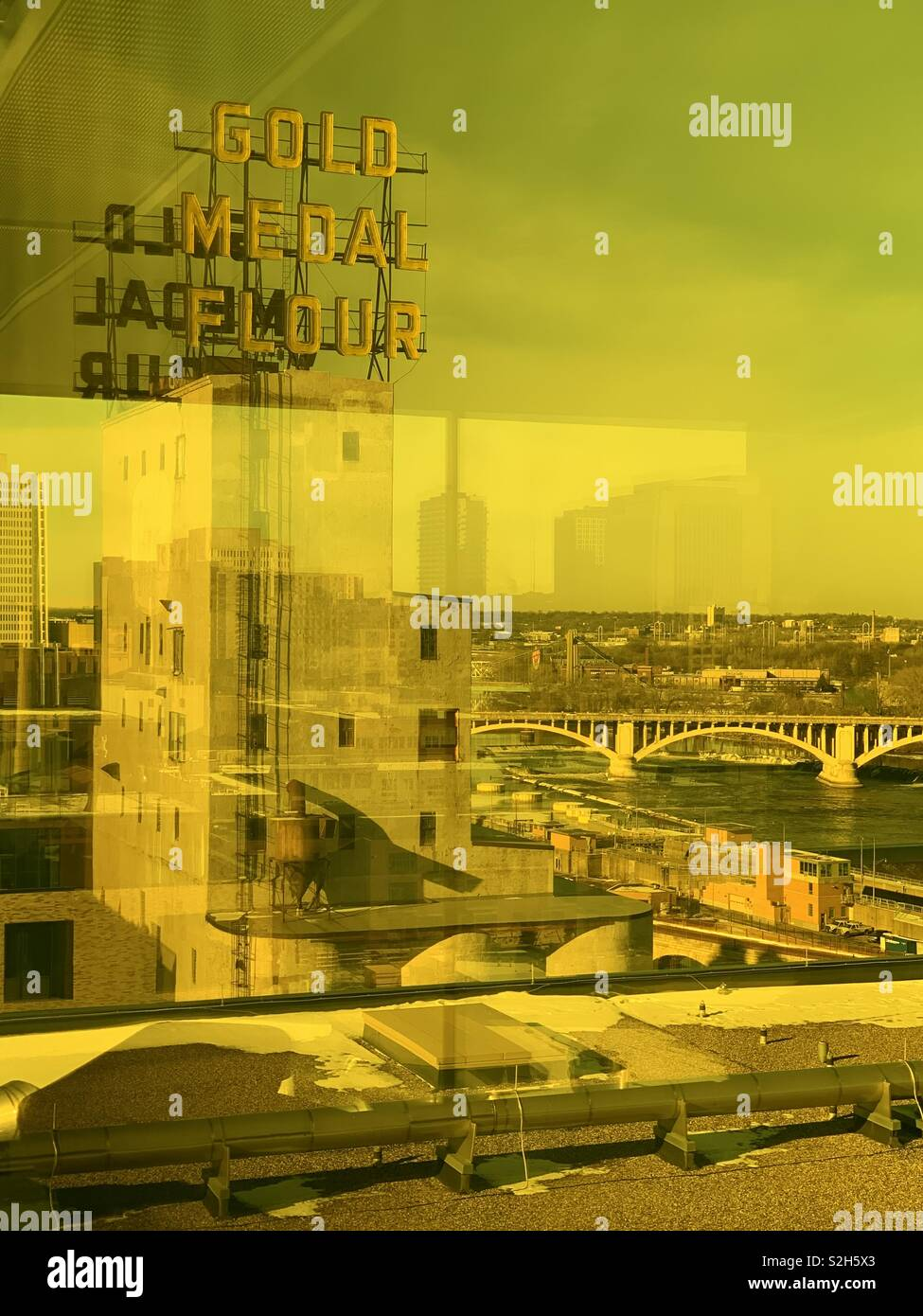 View of the gold medal flour building from the amber floor of the Guthrie Theater in Minneapolis Minnesota December 2018 - Stock Image