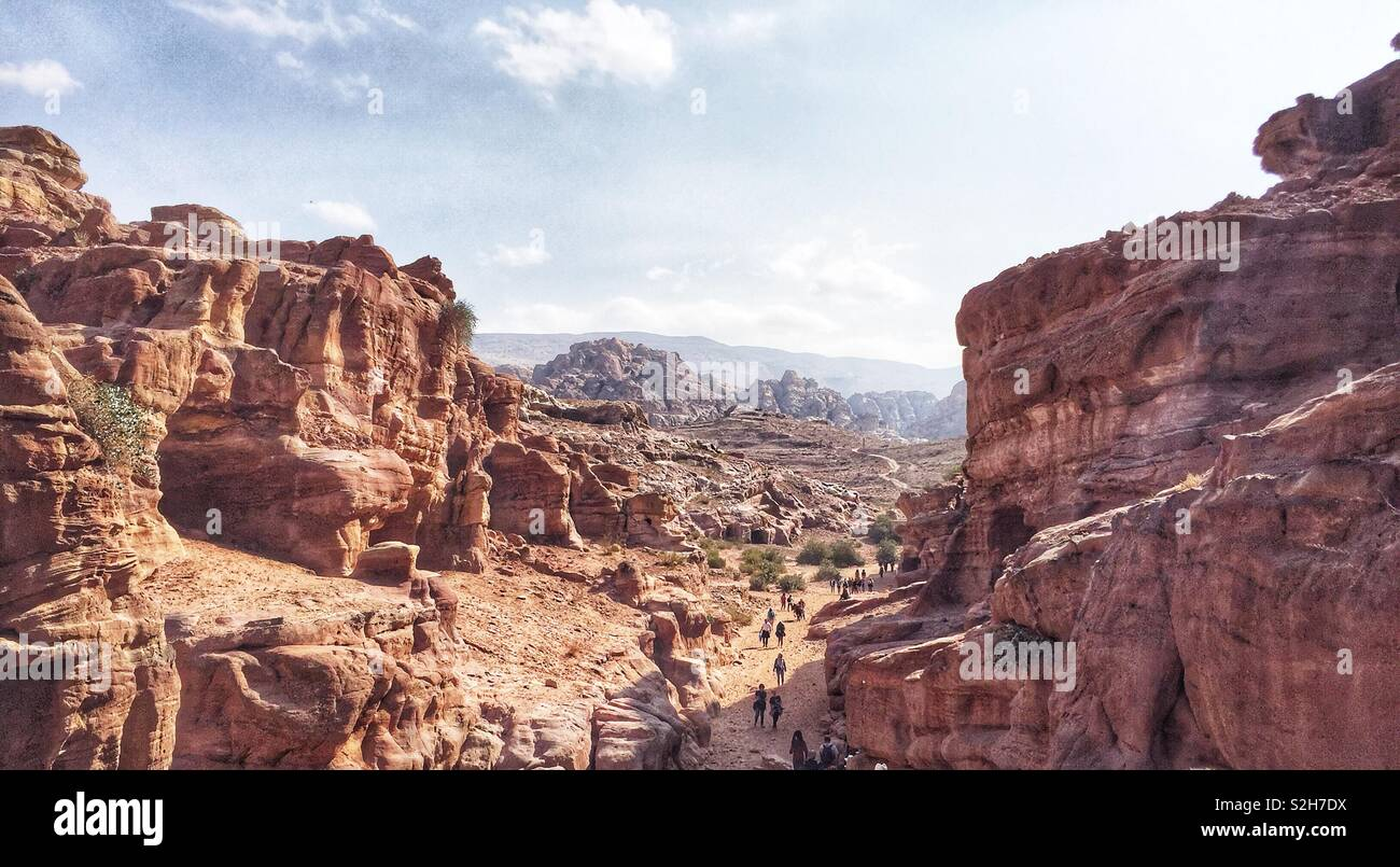 The Ancient Sandstone Rocks of Petra, Jordan. The Red Rose City built by the Ancient Nabataeans. - Stock Image