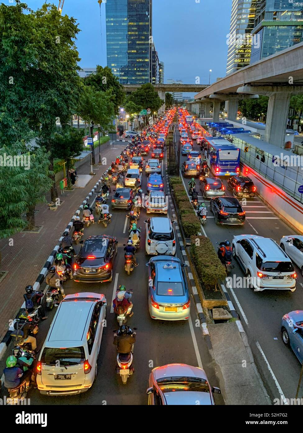 Jakarta Traffic at a standstill. The daily grid to get home from work. - Stock Image