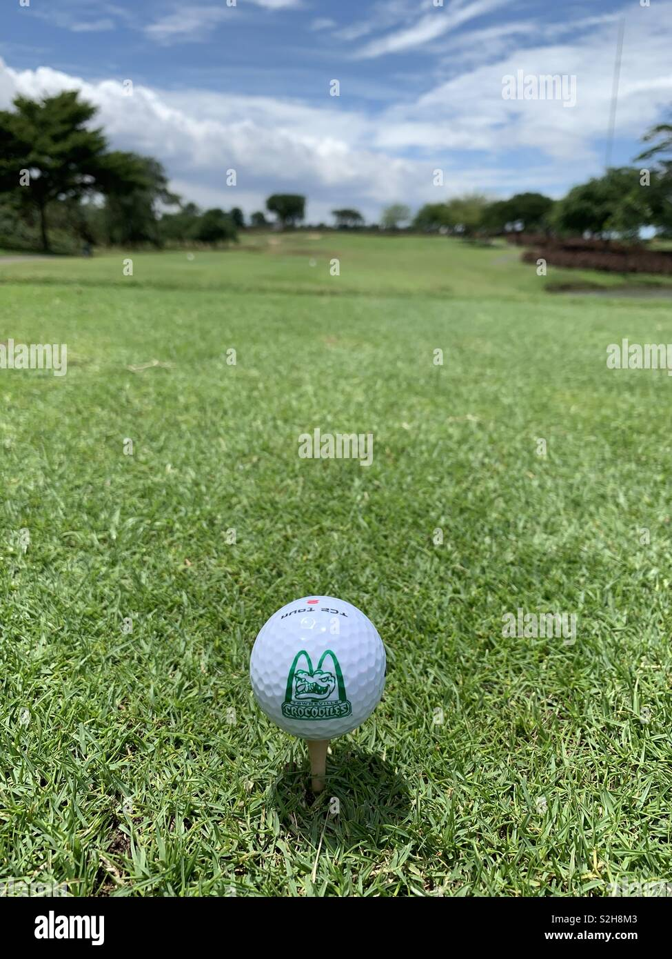 Tee time! Townsville Crocs Golf Ball, long gone team getting hit in Jakarta! - Stock Image