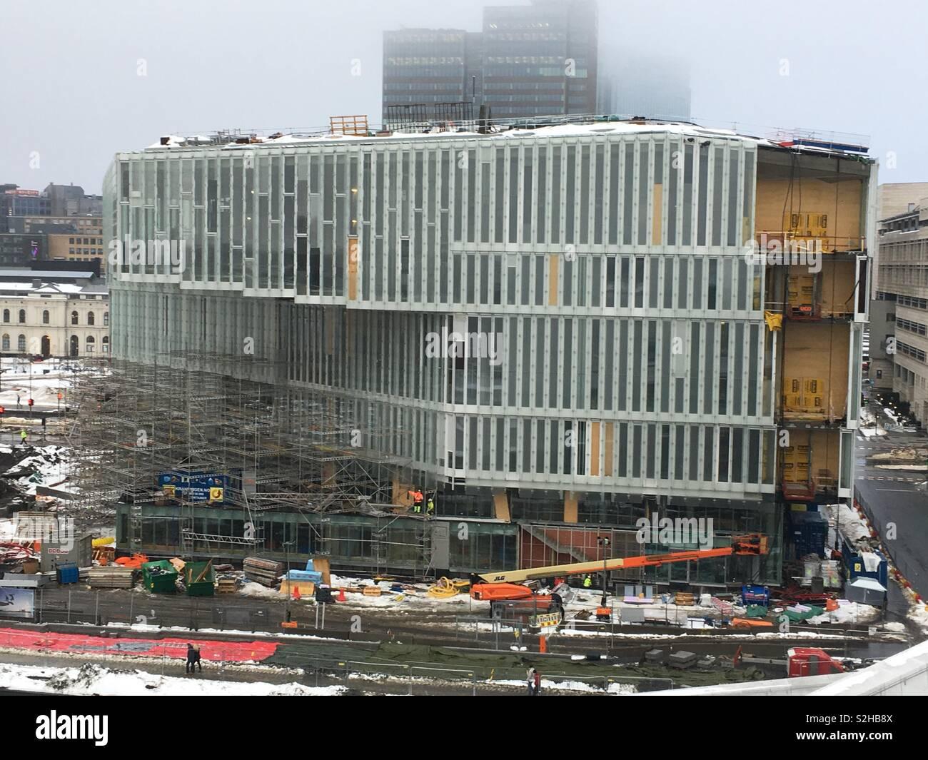 New Deichman Library under construction in Bjorvika area of Oslo, Norway (February 2019) - Stock Image