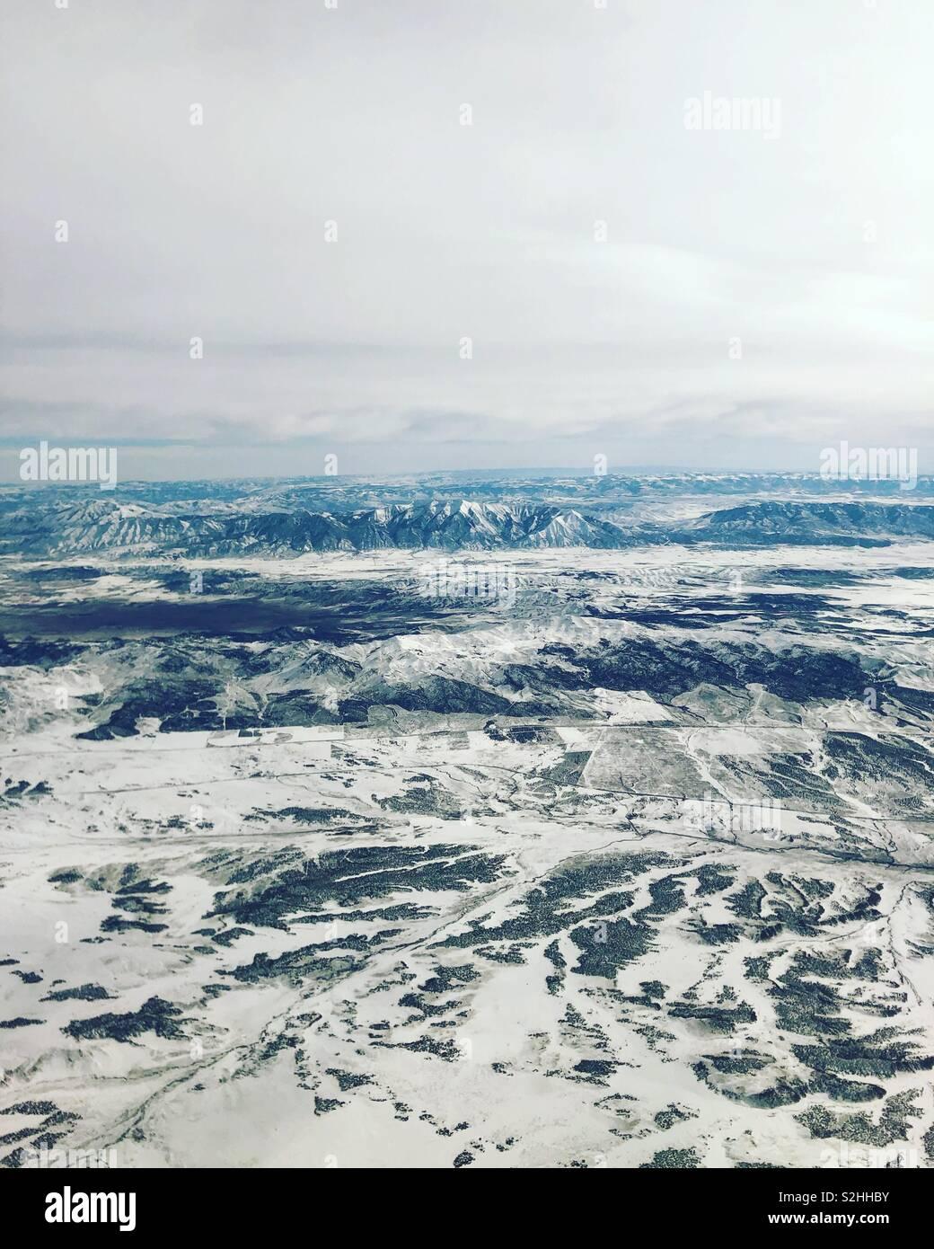 Arial landscape above Salt Lake City, Utah - Stock Image