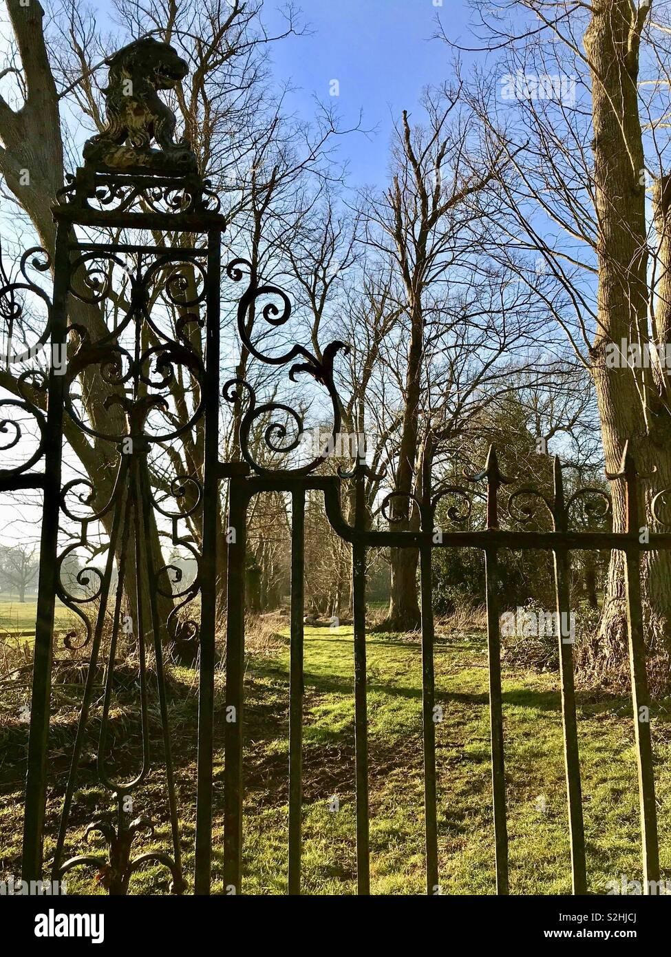 Cast iron railings with a lion, English parkland - Stock Image