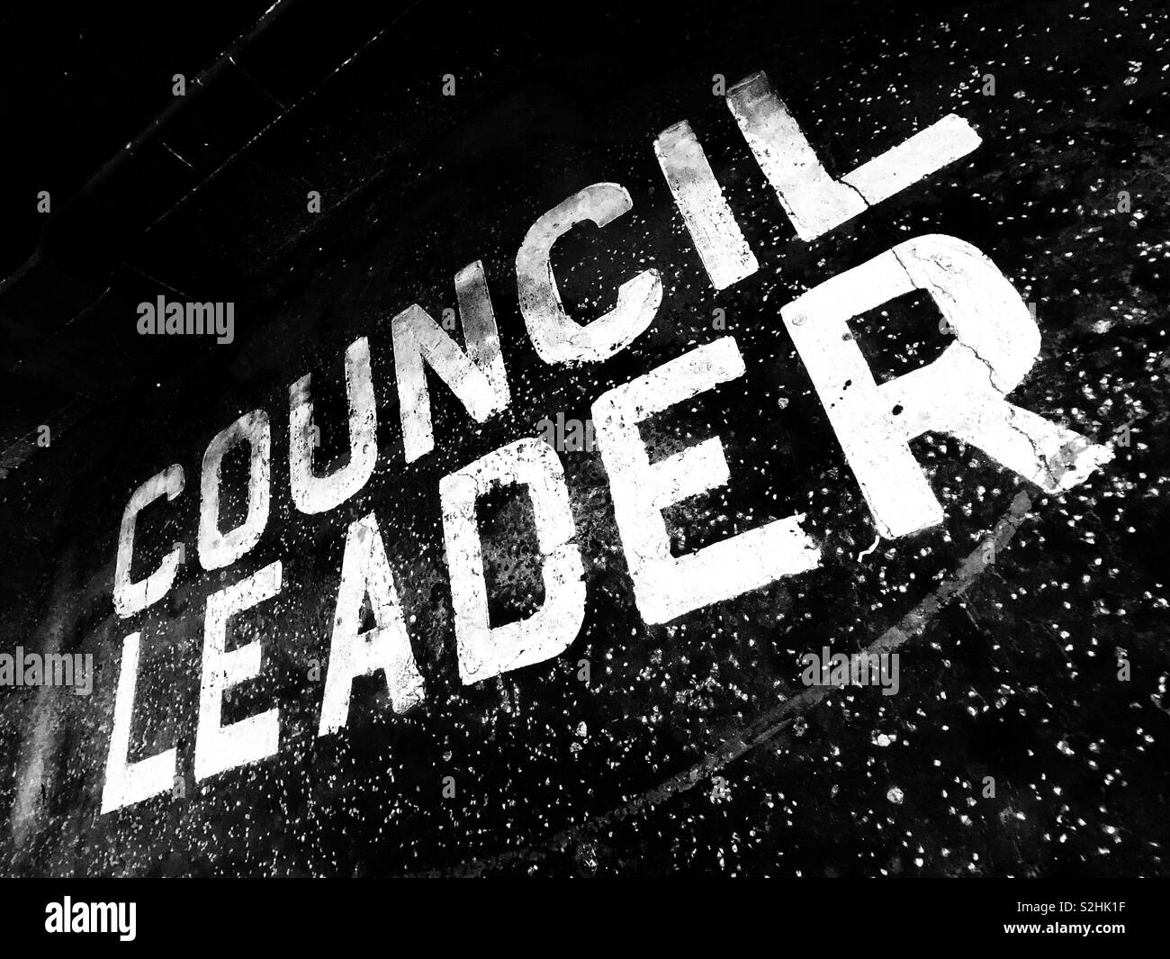 Council leader private parking space. - Stock Image
