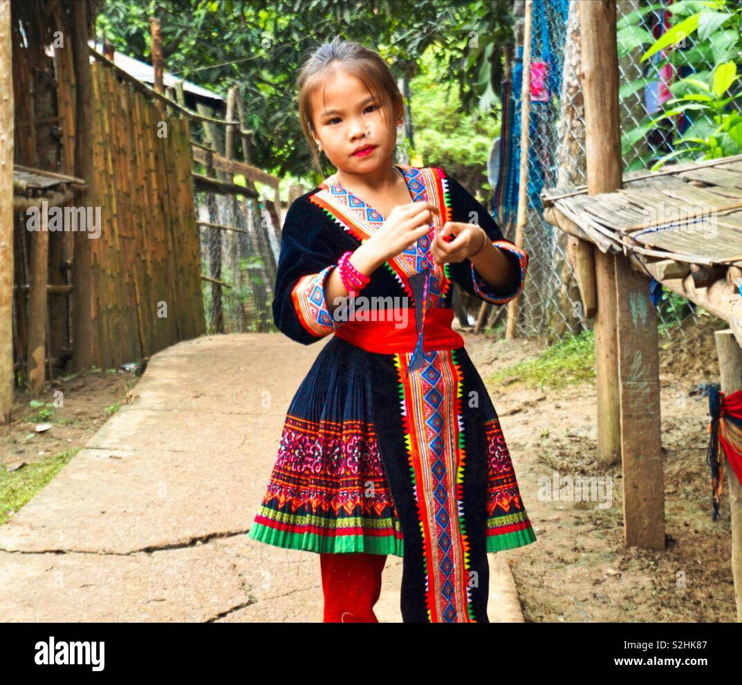 Luang Prabang, Laos. 2 Sept. Mong girl in its traditional suit. - Stock Image