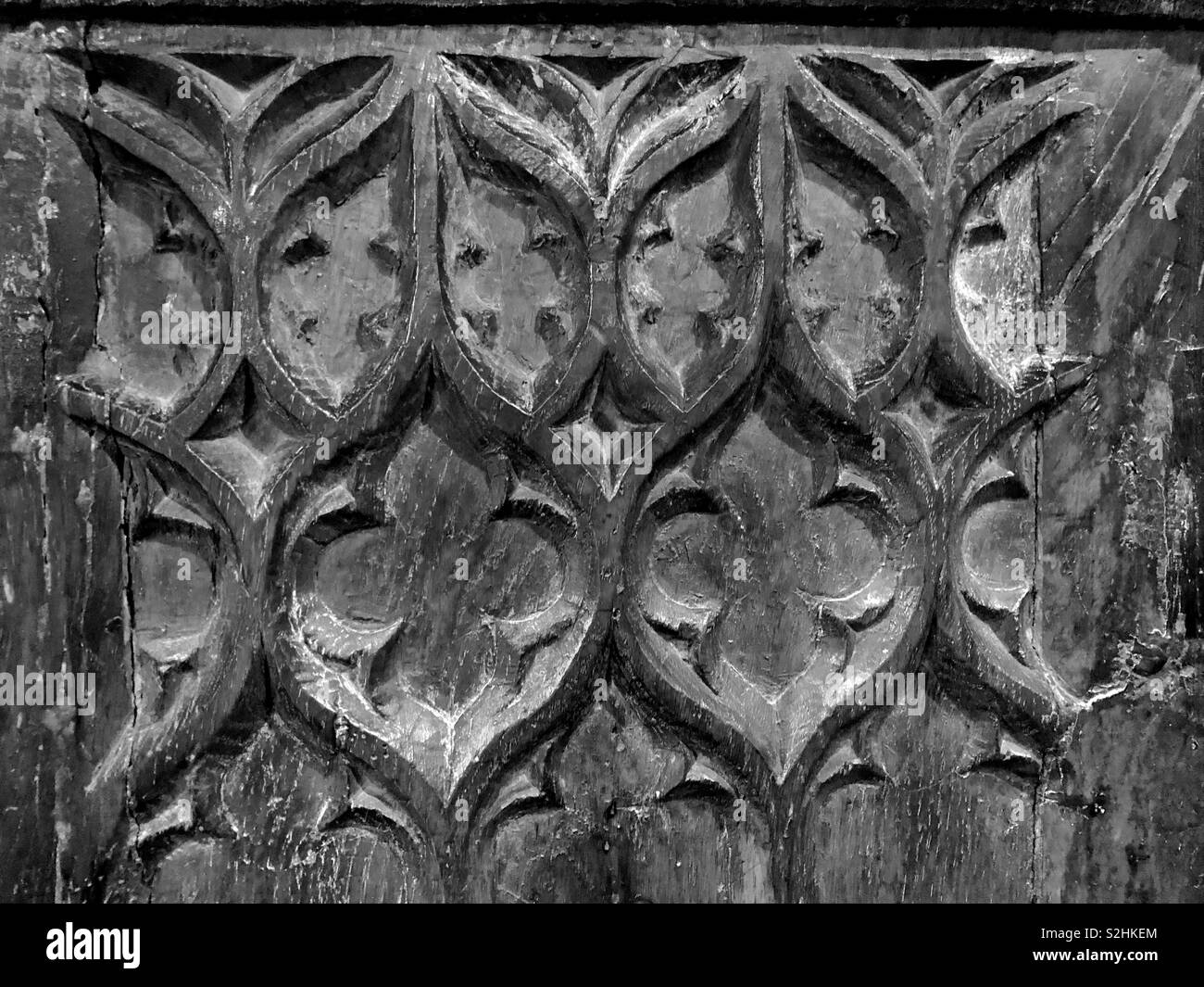 A beautiful medieval oak linen fold carving. Stock Photo
