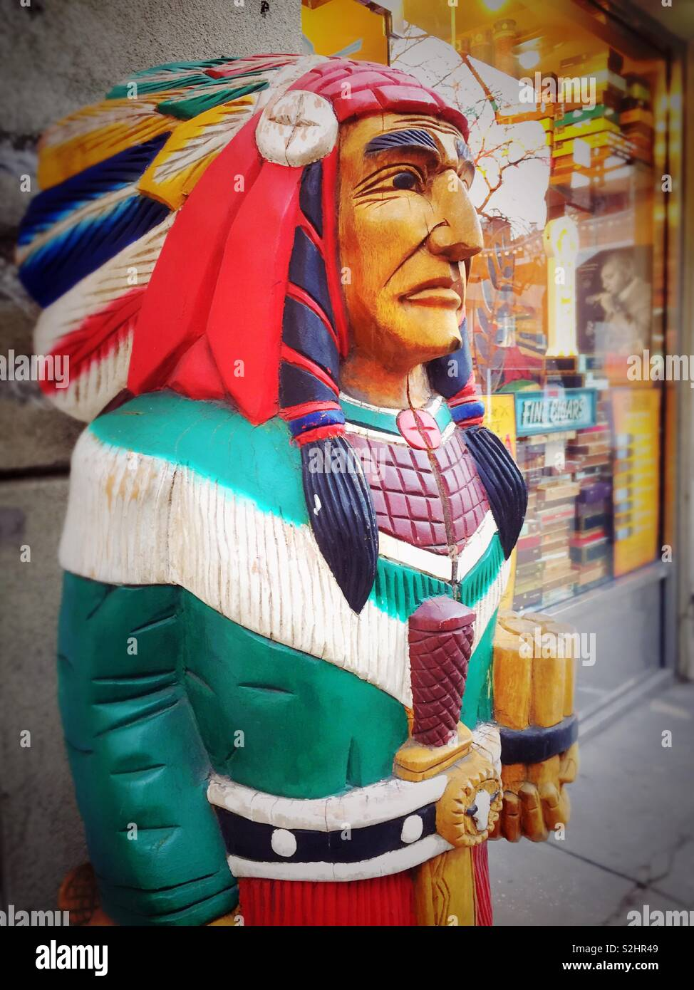 Indian Smoke Shop >> A Wooden Cigar Store Indian Outside A Retail Smoke Shop In