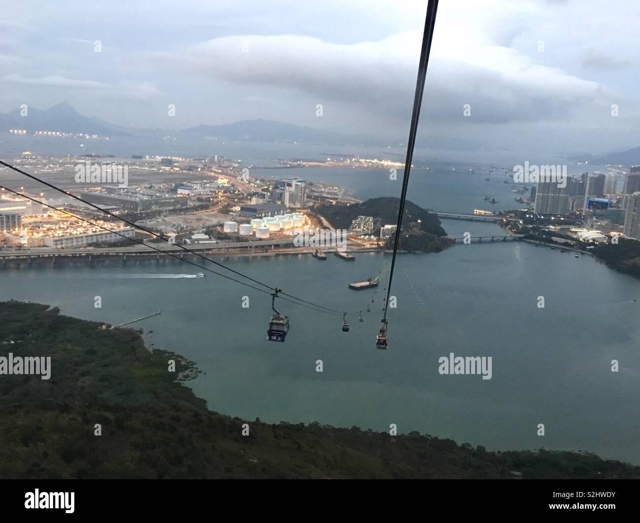 View of Hong Kong airport in the Nong Ping cable car toward Tung Chung ,Hong Kong - Stock Image