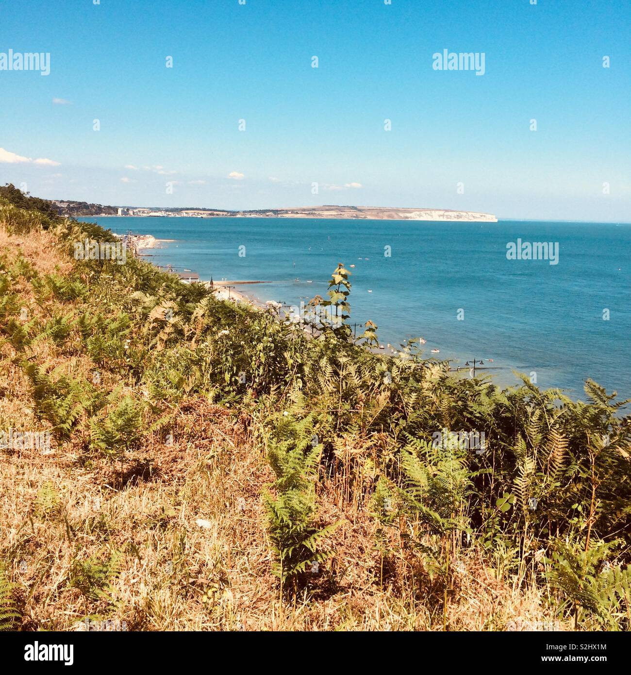 View from Shanklin, Isle of Wight, UK. Stock Photo
