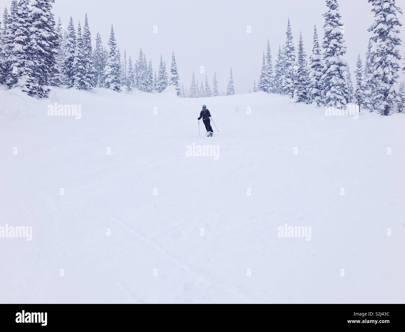 Skier on a quiet ski hill during snow fall. - Stock Image