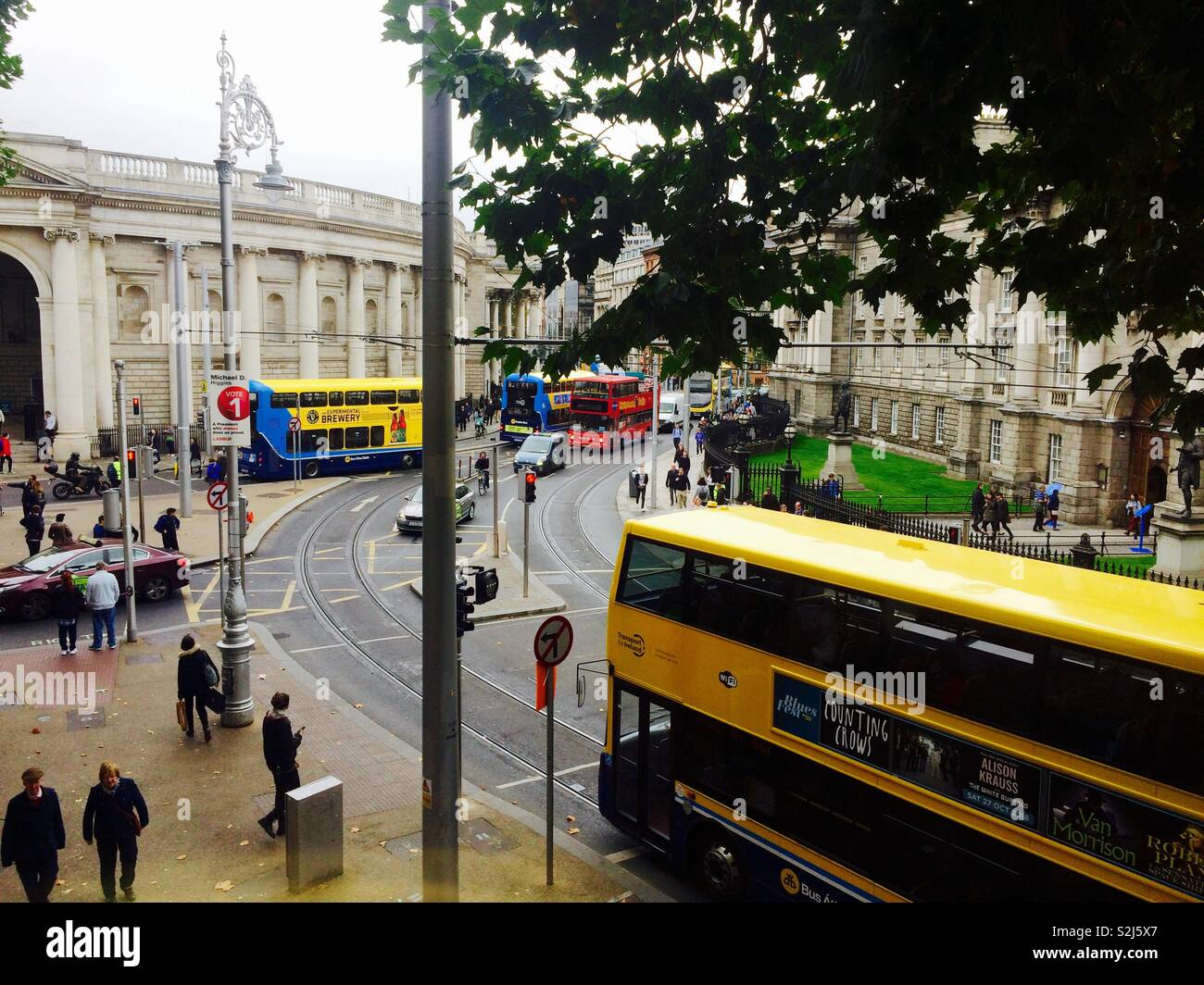8907fcf3e03a1 Looking down onto a busy street or road in Dublin city centre with busses  and people