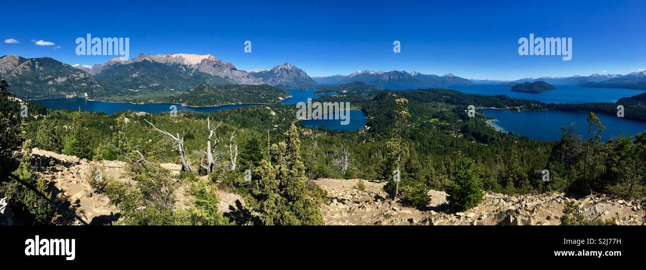 Lake Nahuel Huapi in Nahuel Huapi National Park seen from Cerro Campanario, Bariloche, Argentina. - Stock Image