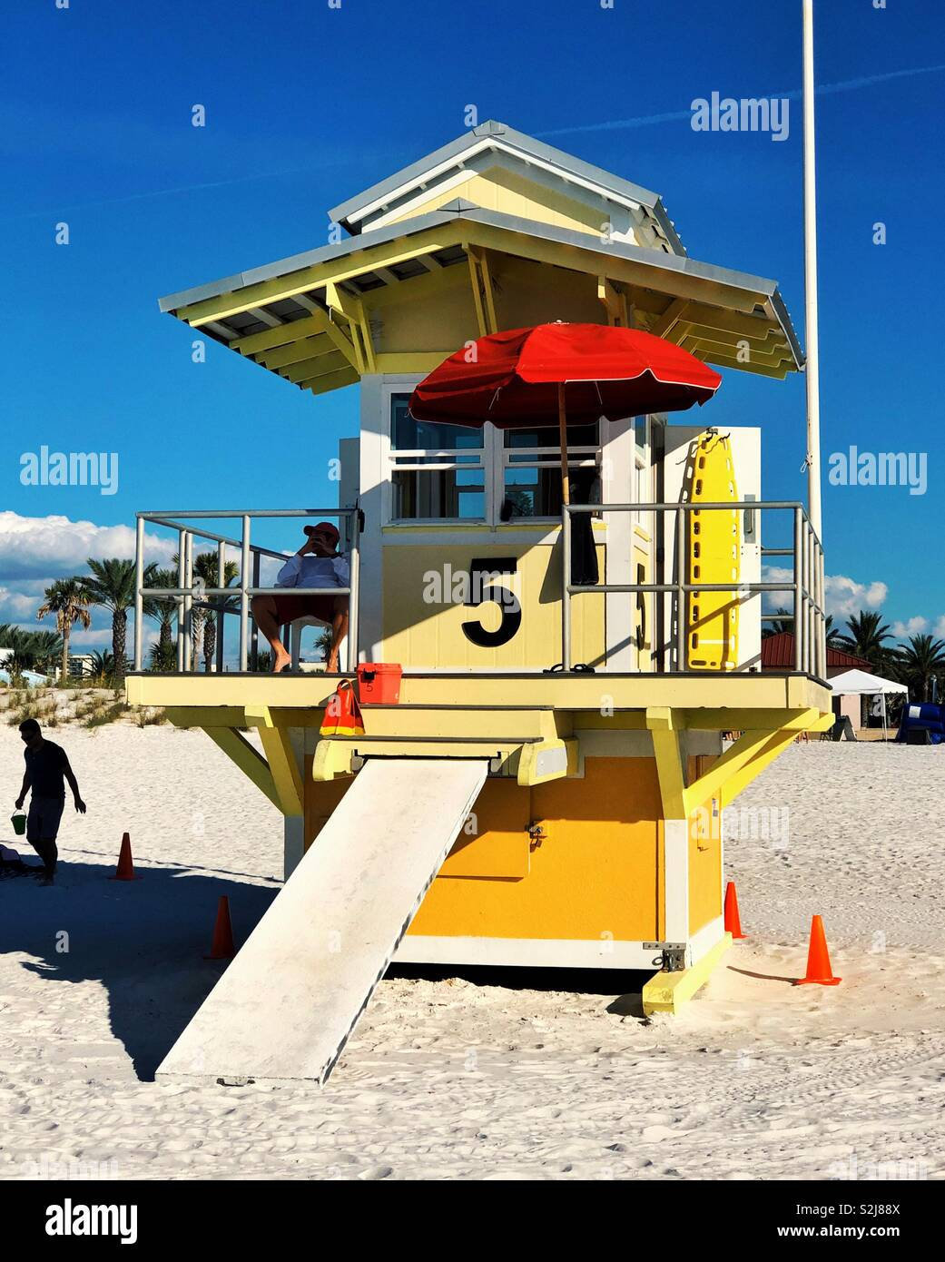 Yellow safeguard rescue station at Clearwater Beach in Florida - Stock Image