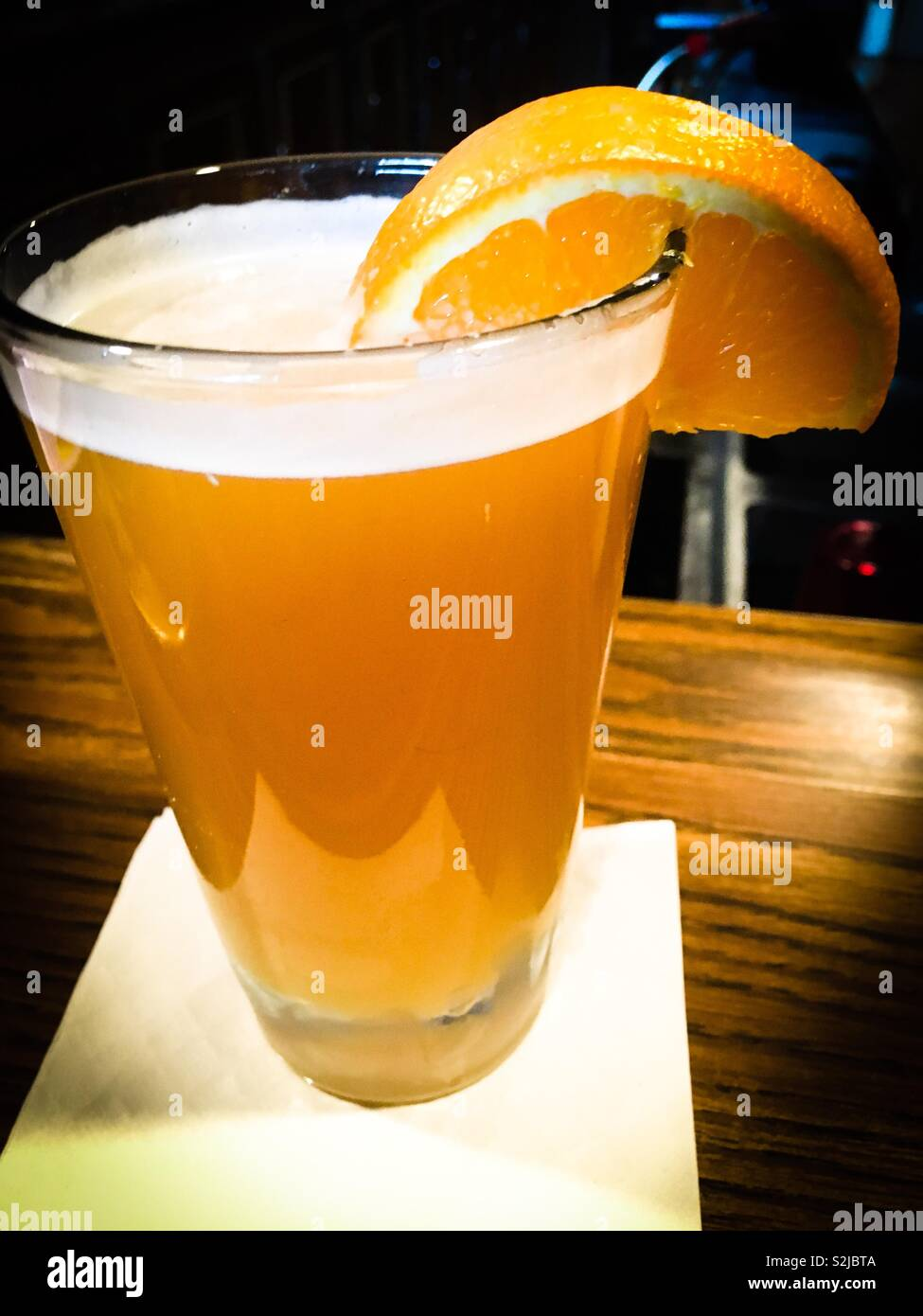 Draft beer at a dive bar in fowlerville michigan - Stock Image