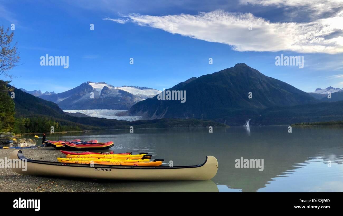 Adventures on the Mendenhall glacial lake Stock Photo