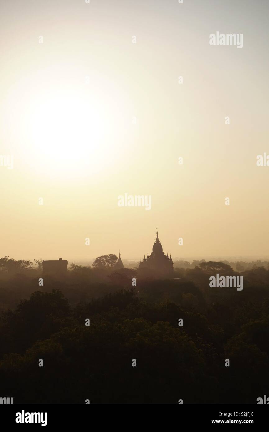 Horizont, bagan impressions. Roof of a temple between plants and trees. Sundown. - Stock Image